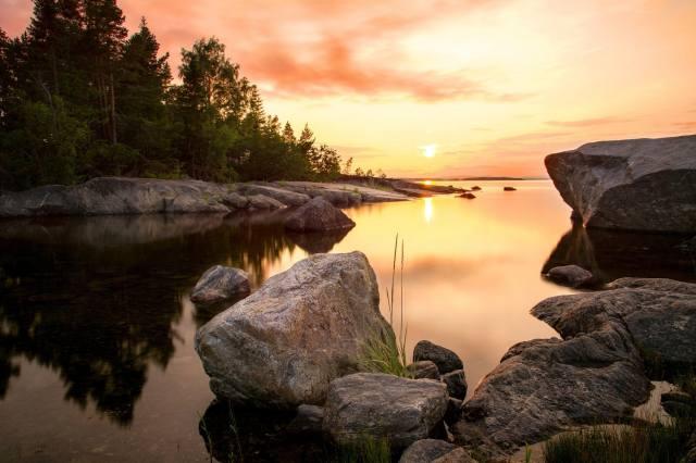 moře, les, slunce, krajina, západ slunce, příroda, kameny, Švédsko, pobřeží