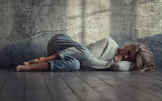 blonde, sleeping, on the floor