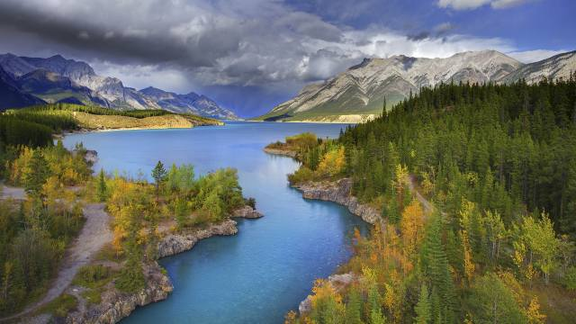 příroda, krajina, hory, řeka, Lesy, nebe, mraky