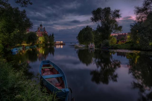 landscape, night, nature, reflection, river, boats, the temple, the shore, Андрей Чиж