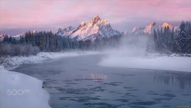 snow, mountains, river