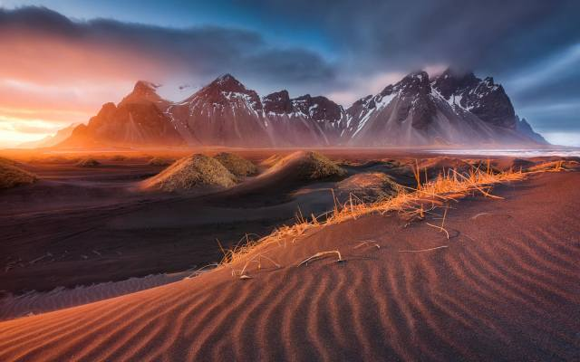 nature, landscape, Iceland, sunset, mountains, clouds