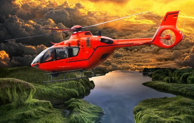 Vrtulník, let, příroda