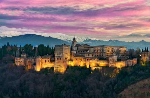 hrad, večer, příroda