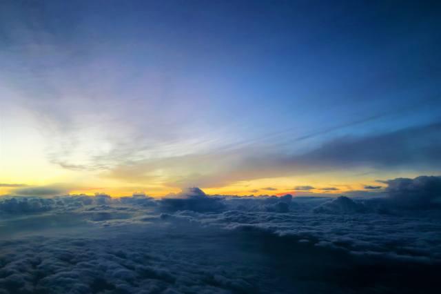 mraky, západ slunce, nebe