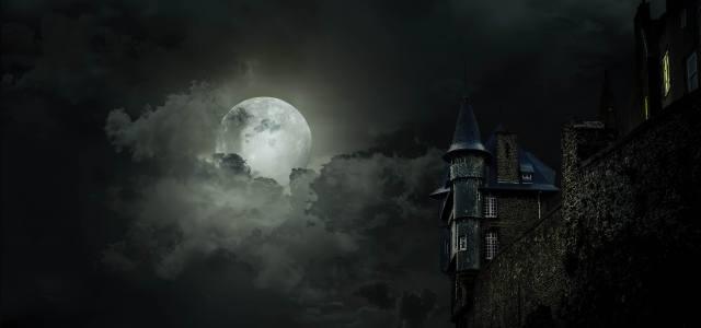 noc, měsíc, mraky, hrad