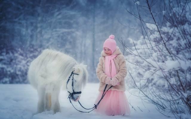 dítě, dívka, šaty, srst, čepice, šátek, zima, příroda, sníh