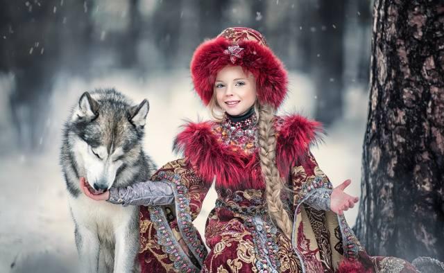 Ярослава Громова, dítě, dívka, oblečení, kostým, Zvíře, pes, pes, zima
