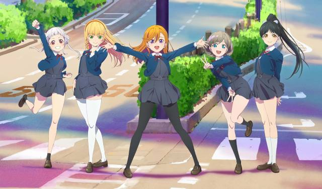 school girls, Love Live, school girl, anime girl, school skirt, Bunda, punčochy, school uniform, blonde