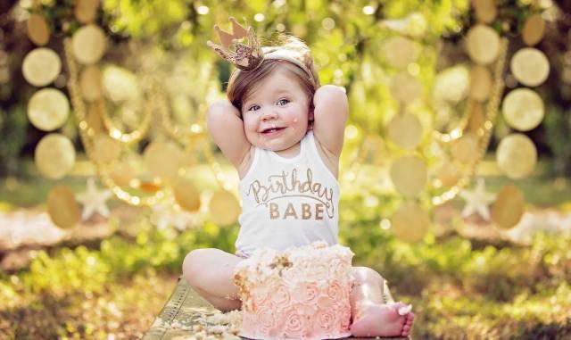 dítě, dívka, dítě, radost, úsměv, crown, tričko, narozeniny, dort