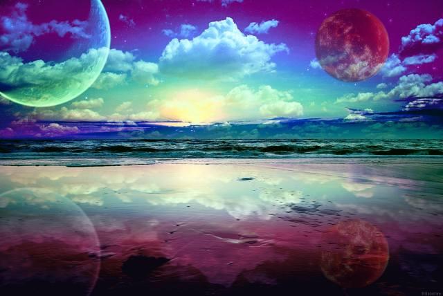 západ slunce, oceán, nebe