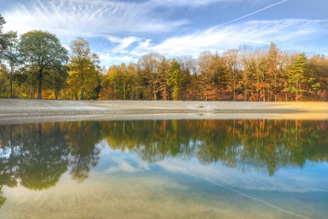 jezero, odraz, stromy, podzim, nebe