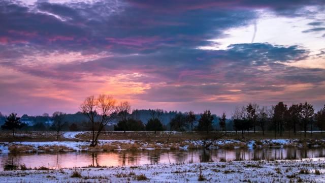 snow, channel, trees, path, sunset, landscape, winter