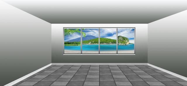 кімната, вікно, вид, тропіки