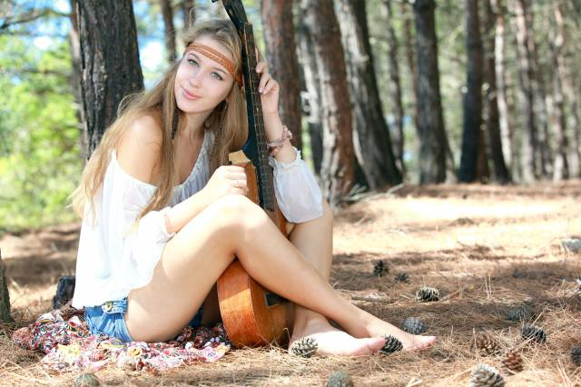 girl, guitar, forest