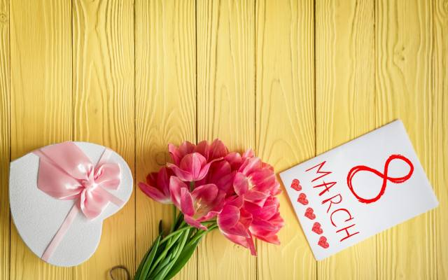 tulips, March 8, bouquet, gift, postcard, holiday, лента розовая