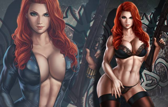black widow, Marvel, girl, sexy, Anime, redhead, weapons, hot, women