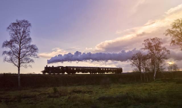 train, cars, the engine, smoke