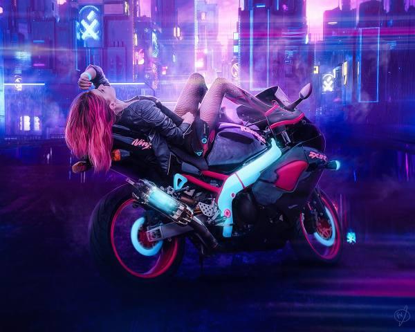 cyberpunk, Girl on Bike, ninja, kawasaki, Do Not Look