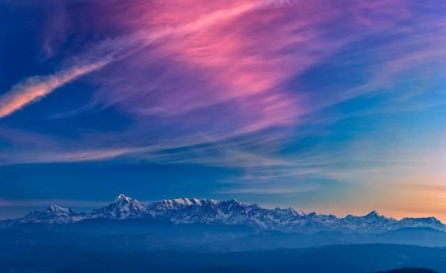 блакитний, гори, небо
