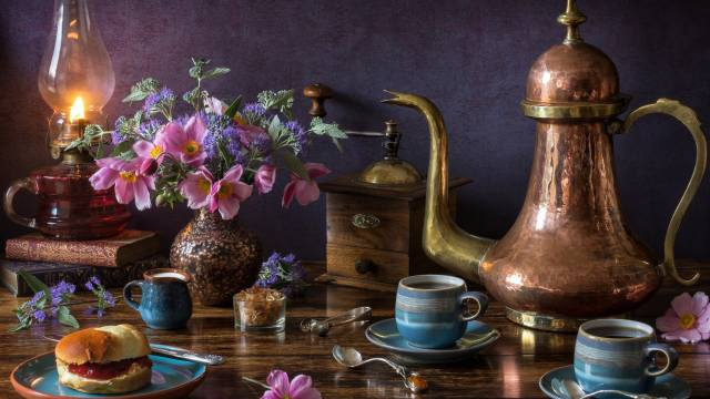 still life, kettle, tea, bread, flowers, lamp