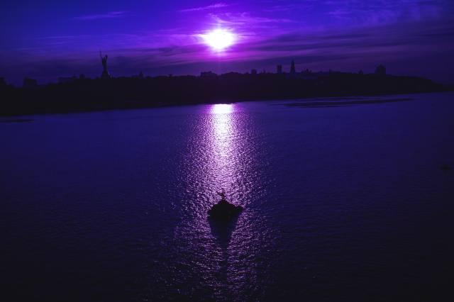 Kyjev, město, řeka, Dněpr, dovolená, pláž, slunce