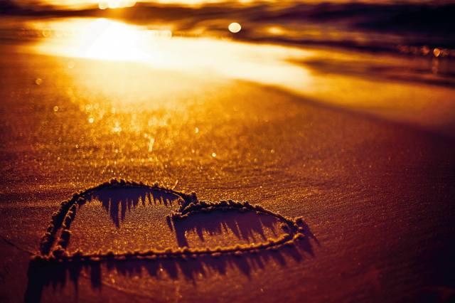pláž, léto, písek, srdce