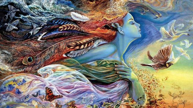 picture, painting, the sky, flight, butterfly, flowers, birds, fish, surrealism