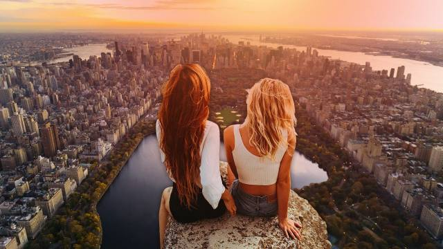 нью-йорк, місто, вечір, арт, креатив, фентезі