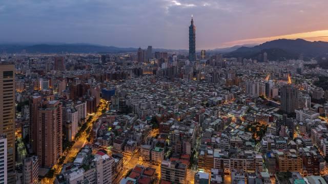 Tchaj-wan, město, mrakodrapy, soumrak, světla, Tchaj-pej
