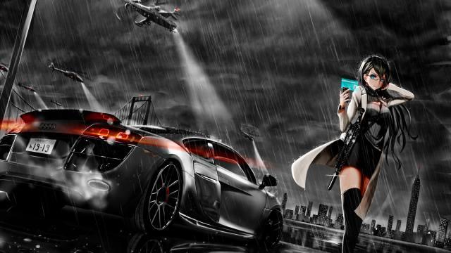 Аніме, дівчина, Автомобіль, дощ, ніч
