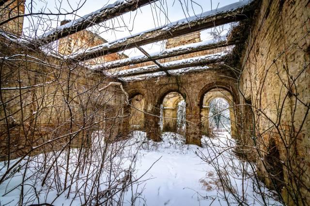 castle, ruins, snow, winter