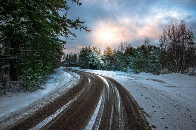 nature, winter, snow, road, turn