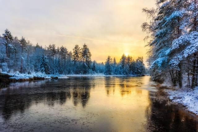 winter, river, snow, evening, nature