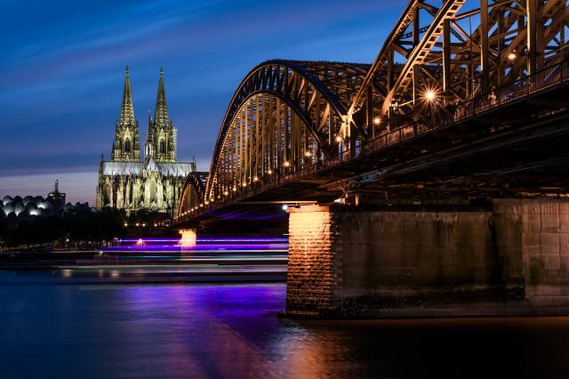 the city, architecture, the bridge, the lights of the city, Cologne, Germany