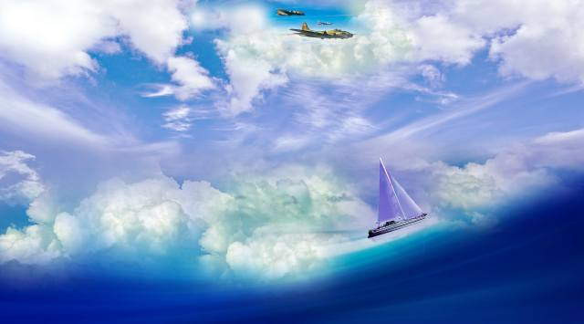 yacht, clouds, airplanes