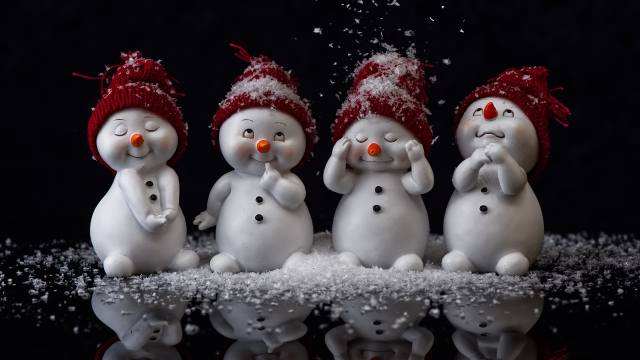 snowmen, the dark background, New year