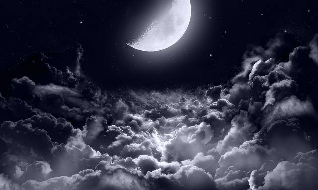 space, stars, the moon, clouds