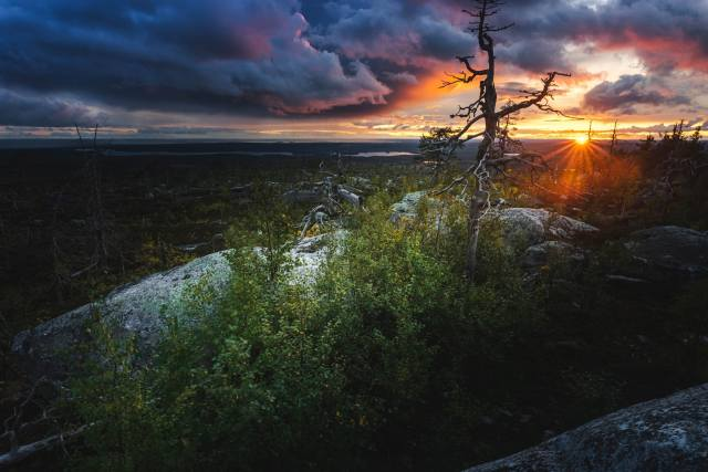 clouds, sunset, landscape