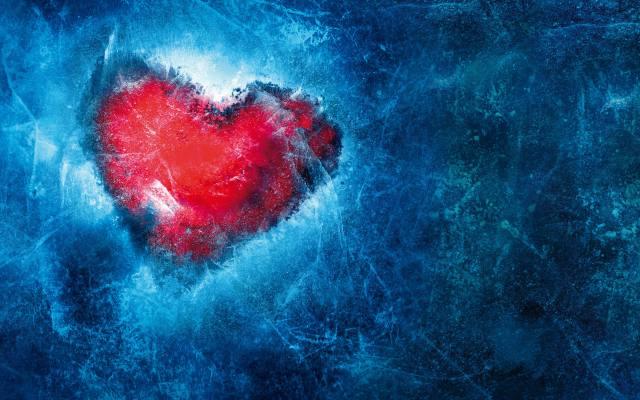 серце, синій, лід