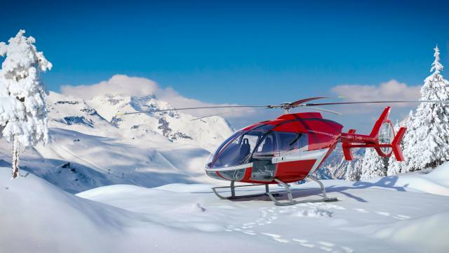 Helicopter, mountains, winter, Switzerland