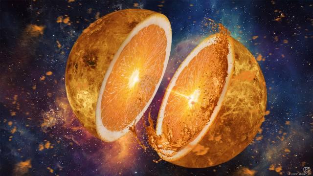 апельсин, фрукт, половинки