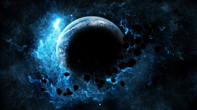 asteroid, earth, space