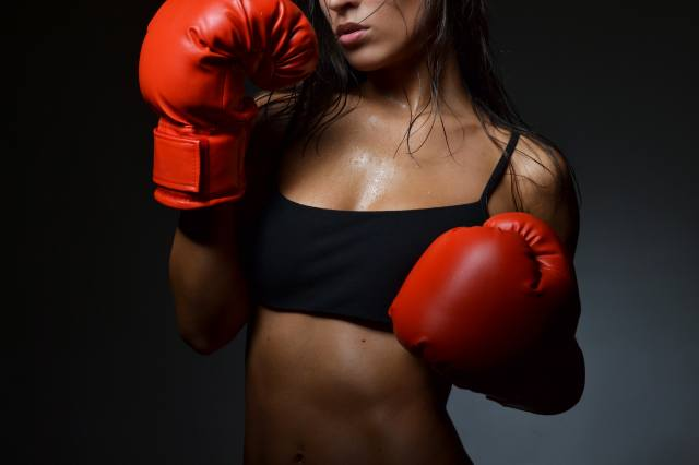 девушка, бокс