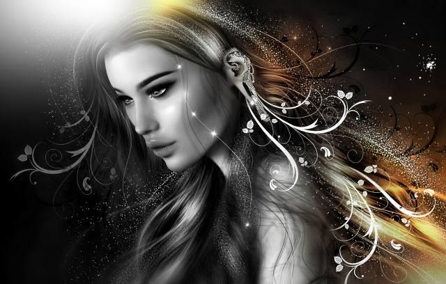 3d, цифрове мистецтво, дівчина, погляд, прикраси, візерунки, монохром
