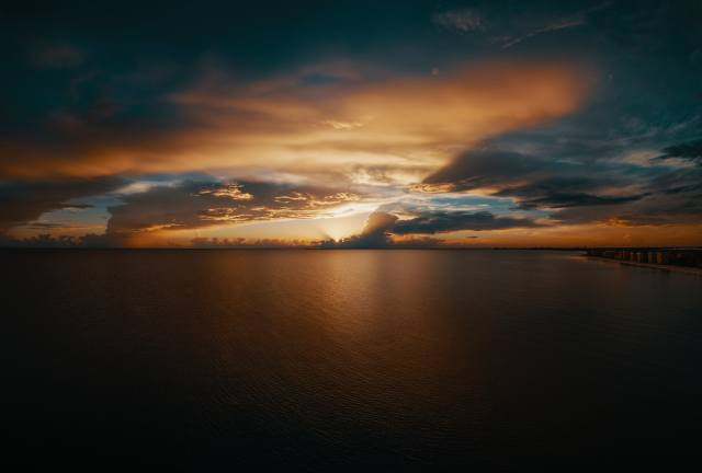 the city, evening, sunset, clouds, horizon