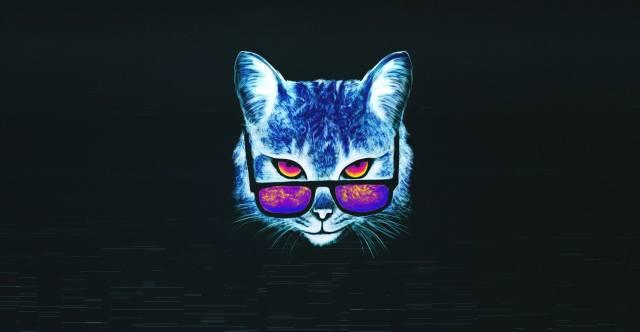кіт, очки, малюнок, фон, мінімалізм