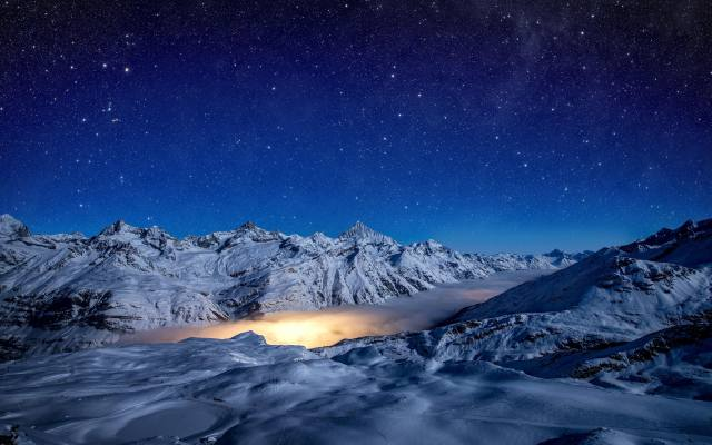 Ночной вид на ледник Gorner in Zermatt, Switzerland, Горнер в Церматте, Switzerland