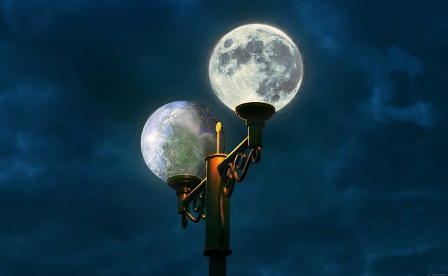 lantern, the moon, earth, fantasy