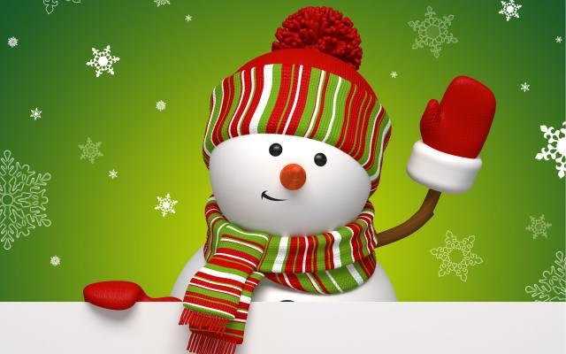 сніговик, празник, сніжинки